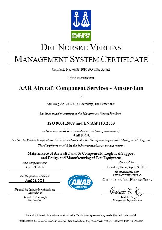 AAR Aircraft Component Services – Amsterdam | EPICOS