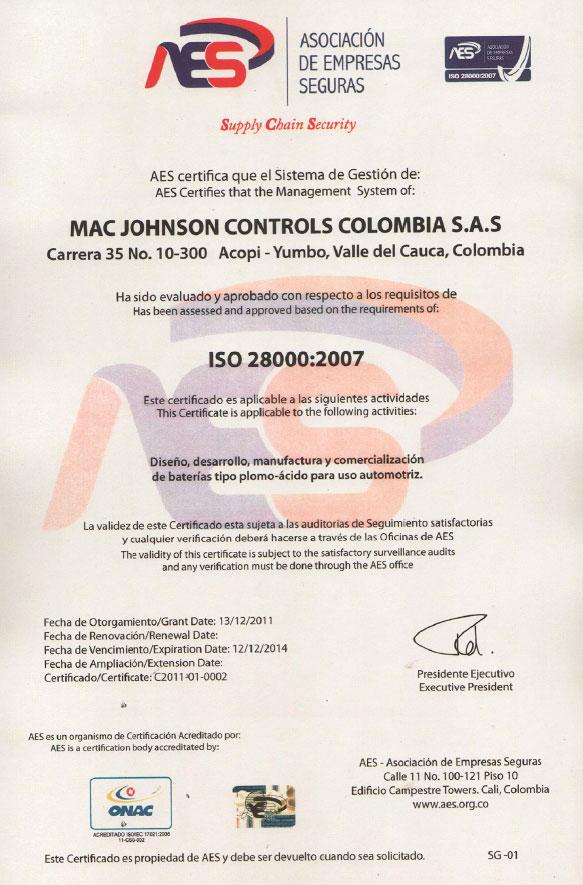 Mac-Johnson Controls Colombia S A S  | EPICOS